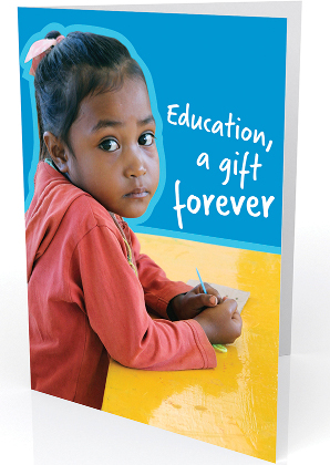 Card text reads: education - a gift forever