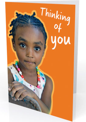 Card text reads: thinking of you